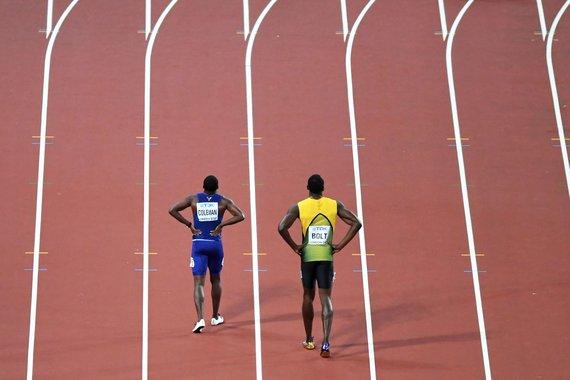 """""""Scanpix"""" nuotr./Usainas Boltas ir Justinas Gatlinas"""