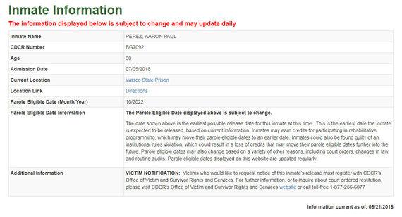 Informacija apie kalinį Aaroną Perezą
