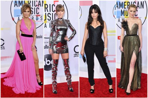 """""""Scanpix"""" nuotr./Geriausiai apsirengusios apdovanojimų viešnios – Jennifer Lopez, Taylor Swift, Camila Cabello ir Amber Heard"""