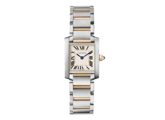 """""""Cartier Tank Française"""" dvispalvis laikrodis iš plieno ir geltonojo aukso, kainuojantis 5 500$"""