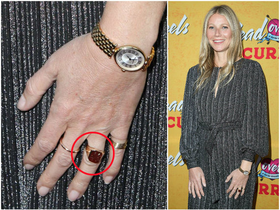 """AFP/""""Scanpix"""" nuotr./Trečiadienį Gwyneth Paltrow renginyje pasirodė su nauju žiedu"""