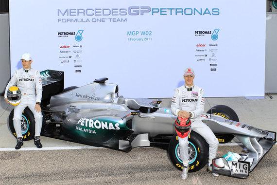 "Komandos nuotr./""Mercedes"" 2011 metų sezono bolidas"