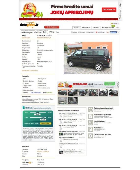 Automobilio skelbimas Autogidas.lt