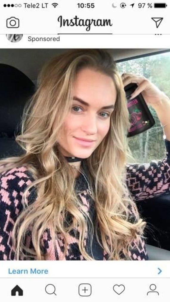 """Padirbta Gintarės Gurevičiūtės nuotrauka""""Instagram"""" tinkle"""