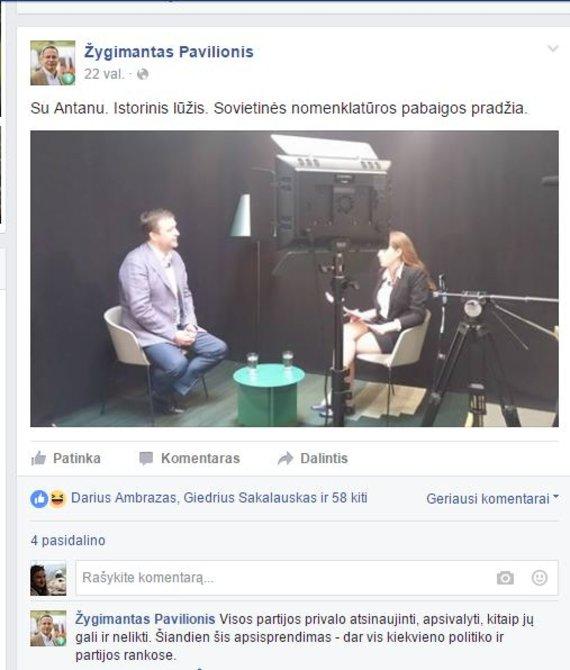 Žygimanto Pavilionio įrašas socialiniame tinkle