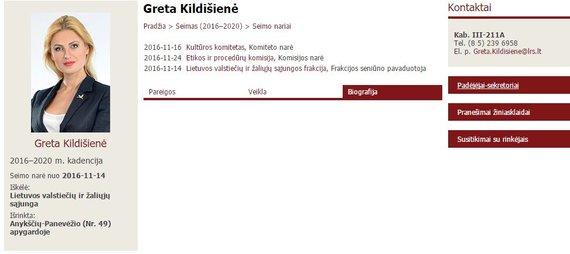 G.Kildišienės biografija Seimo tinklalapyje pirmadienį