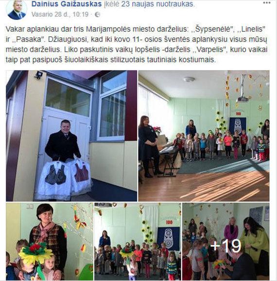 """D.Gaižausko įrašas """"Facebook"""""""
