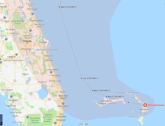 """""""Google maps""""/Uragano Dorian judėjimo kryptis"""