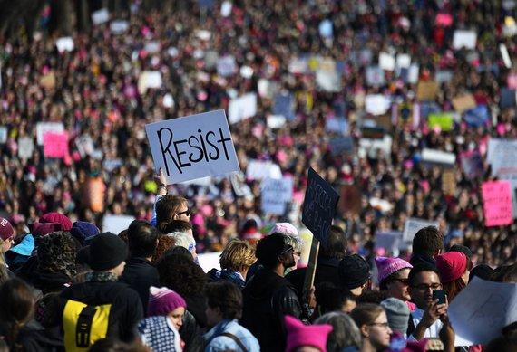 """""""Scanpix""""/""""Sipa USA"""" nuotr./Demonstracija už moterų teises Vašingtone"""