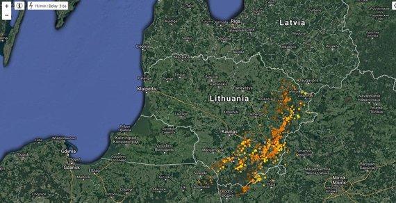 lightningmaps.org nuotr./Žaibų žemėlapis