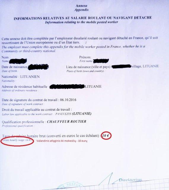 Prancūzams rodomi dokumentai