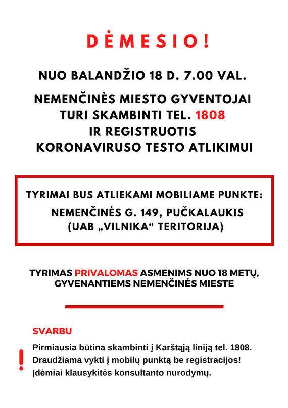 vrsa.lt nuotr./Skelbimas Vilniaus rajono savivaldybės puslapyje