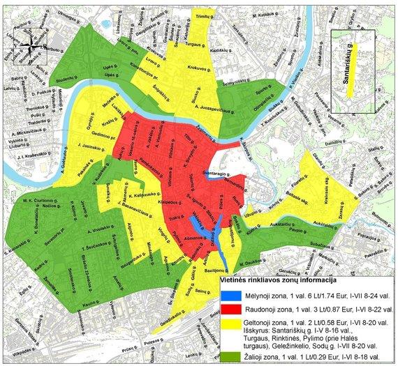 Vilniaus m. sav. iliustracija/Mokamų parkavimo vietų Vilniaus mieste žemėlapis