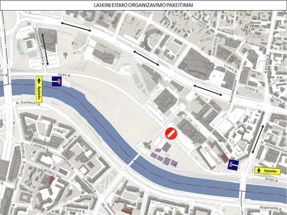 Apylankos dėl avarijos Upės gatvėje schema