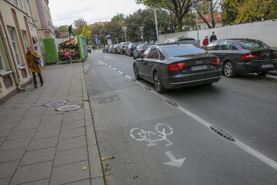 Luko Balandžio / 15min nuotr./Dviračių takas Rūdninkų gatvėje