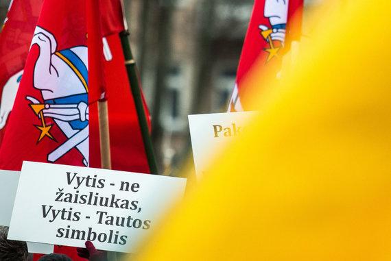 Luko Balandžio / 15min nuotr./Mitingas dėl Vyčio paminklo Lukiškių aikštėje statybų