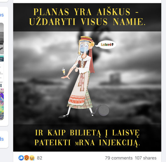 """Nuotr. iš """"Facebook""""/Realaus pagrindo neturinti žinia iliustruota bauginančiu piešiniu"""