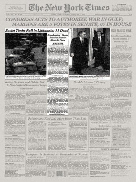"""Nuotr. iš """"New York Times"""" archyvo/JAV dienraščio """"New York Times"""" 1991 metų sausio 13 dienos pirmas puslapis"""