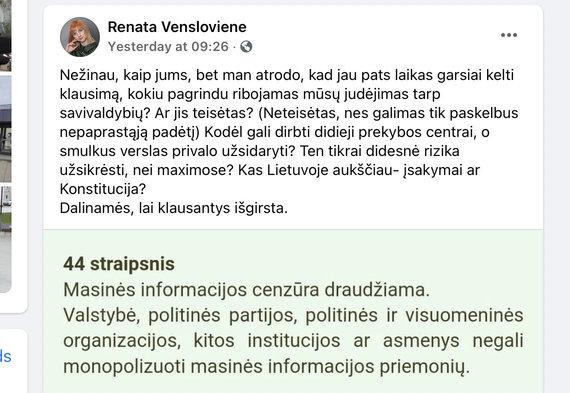 """Nuotr. iš """"Facebook""""/""""Valstietė"""" Renata Venslovienė pasipiktino judėjimu po Lietuvą ribojimu"""