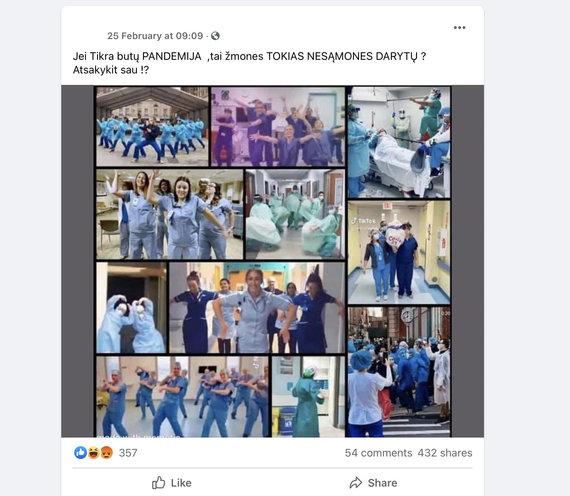 Internautai piktinasi: medikai šoka, reiškia, pandemijos nėra