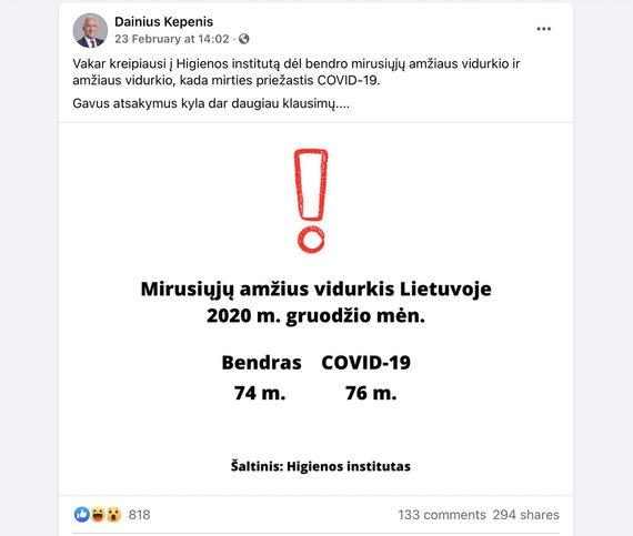 """Ekrano nuotr. iš Dainiaus Kepenio paskyros """"Facebook""""/Seimo nario Dainiaus Kepenio gauti duomenys apie mirusiųjų amžių"""