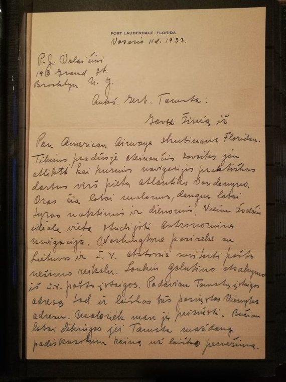 J.Blažiūno nuotr./Lakūno Stepono Dariaus laiškas