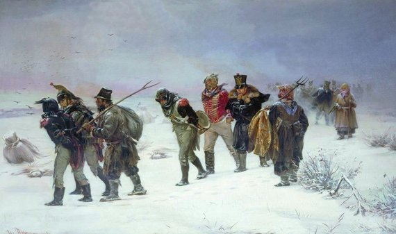 Prancūzų traukimasis iš Rusijos. I.M.Prianišnikovo paveikslas