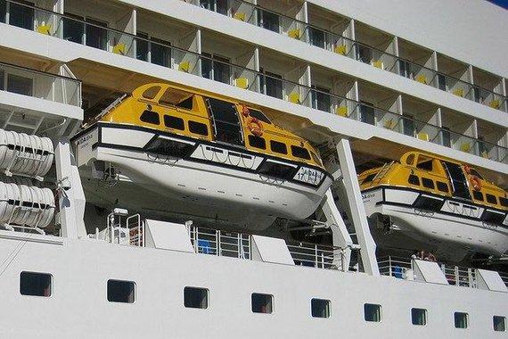 """""""Wikimedia Commons"""" nuotr./Pažangūs gelbėjimosi kateriai su dviem sraigtais kruiziniame laive"""