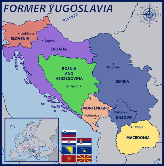 123rf.com nuotr./Buvusi Jugoslavija ir po jos žlugimo atsiradusios valstybės