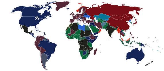 Žemėlapyje valstybės nuspalvintos spalva, kurios yra jų pasai