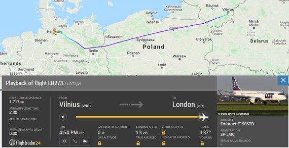flightradar24.com iliustr./Lėktuvas į Londonas buvo priverstas leistis Hamburge