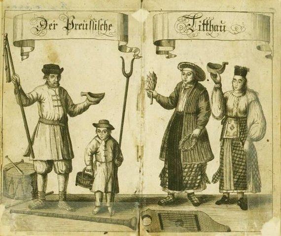 Iliustracija Theodoro Lepnerio knygoje Der Preusche Littauer, oder Vorstellung der Nahmens-Herleitung, Kind-Tauffen, Hochzeit Danzigas, 1744/Prūsijos lietuviai