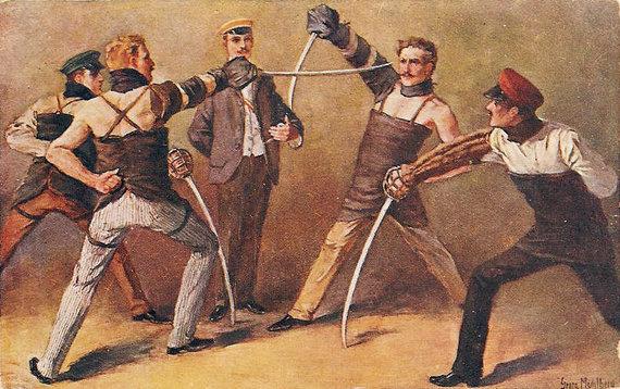 Dailininkas Georg Mühlberg /Studentiškas fechtavimas XX a. pradžioje.