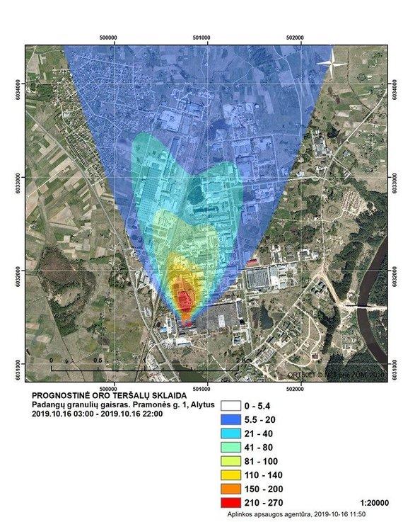 Aplinkos apsaugos agentūros nuotr./Trečiadienį AAA sudaryta prognostinė teršalų sklaida. BPC yra tamsiai mėlynoje zonoje.