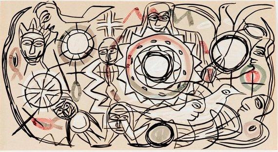 Be pavadinimo, 2002, popierius, guašas, spalvotas tušas, 84 x 155 cm (Modernaus meno centro kolekcija)