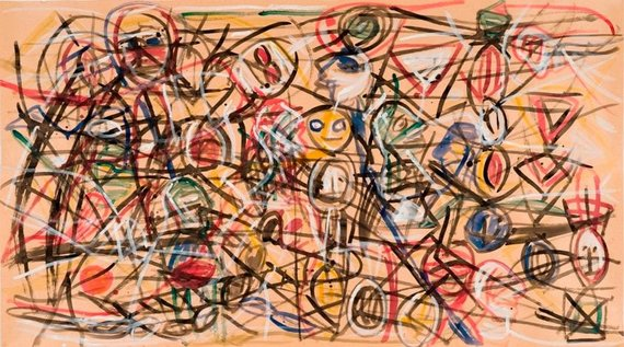 Be pavadinimo, 1999, popierius, guašas, tušas, 105x186 cm. (Modernaus meno centro kolekcija)
