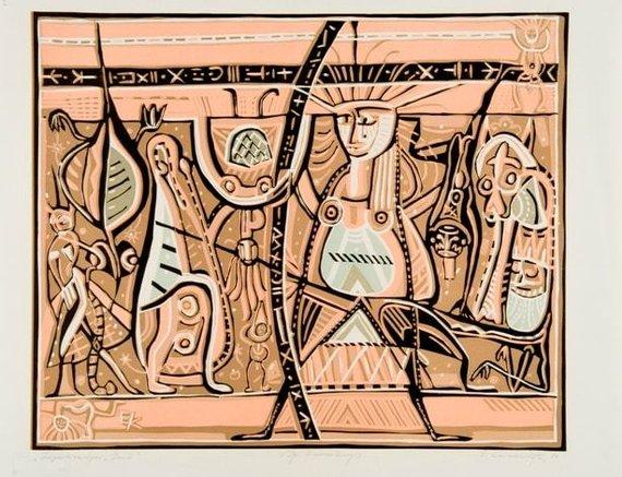 """Improvizacija """"Žemė"""", 1980, spalvotas linoraižinys, 43,5 x 53,8 cm (Modernaus meno centro kolekcija)"""