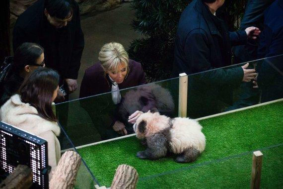 """""""Scanpix""""/""""SIPA"""" nuotr./Brigitte Macron aplankė pandą"""