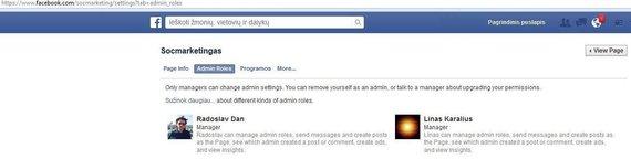 """""""Facebook"""" nuotr./Šis puslapis administruojamas per L.Karaliaus ir R.Danovskio paskyras"""