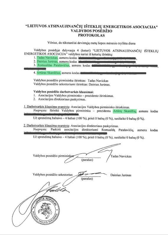 Lietuvos atsinaujinančių išteklių energetikos asociacijos valdybos protokolas