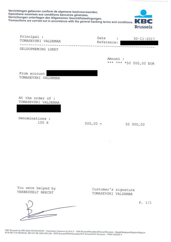 Valdemaras Tomaševskis atsiuntė pinigų pasiėmimo čekį