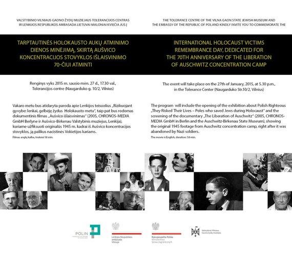 Organizatorių nuotr./Holokausto minėjimas