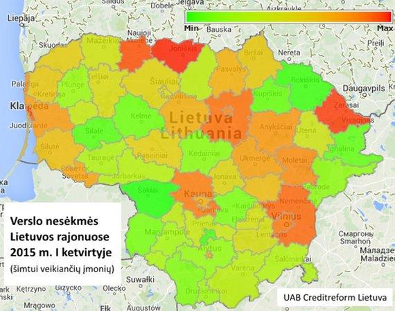 Creditreform.lt parengtas žemėlapis/Verslo nesėkmių Lietuvos rajonuose žemėlapis