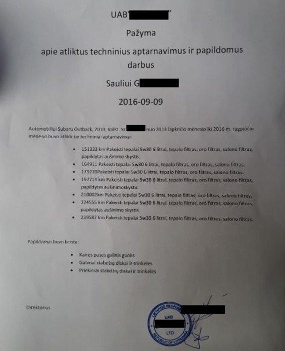 Įmonės, atlikusios techninius aptarnavimus Sauliaus automobiliui, pažyma