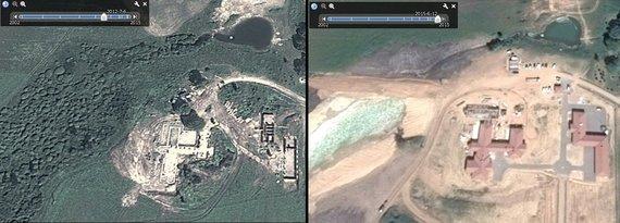 Google Earth nuotr./Muižinikų statybvietės vaizdai iš palydovo 2012 m. (kairėje) ir pernai