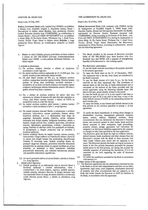 15min nuotr./2003 m. gegužės 28 d. paskolos sutartis, 1 lapas