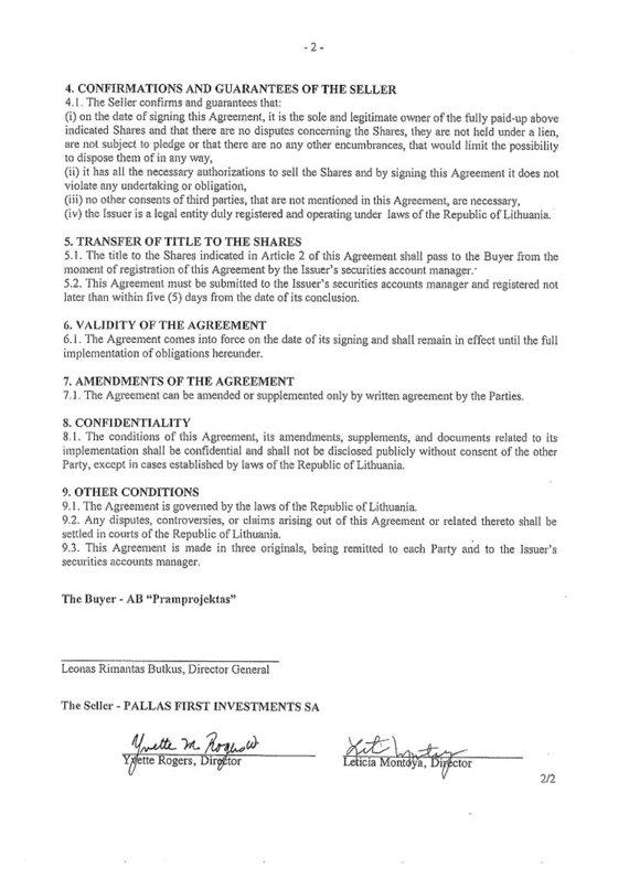 15min nuotr./Sutartis dėl Sporto rūmus valdančios įmonės pardavimo – 2 lapas