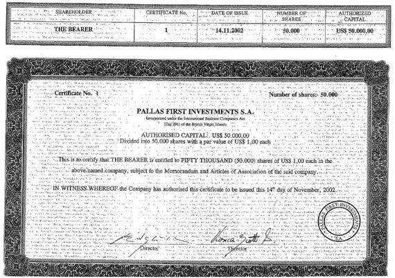 15min nuotr./Su L.Varanavičiumi susijusios įmonės akcijų sertifikatas