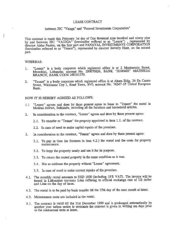 15min nuotr./Motelio nuomos sutartis, 1 puslapis