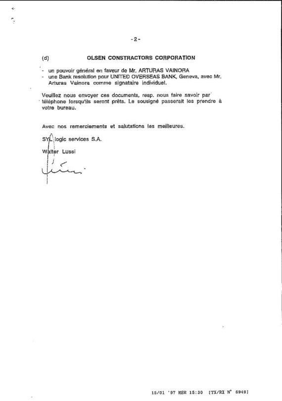 15min nuotr./Šveicarijos tarpininko prašymas įgalioti G.Kiesų, I.Paleičiką, B.Vainorą ir A.Vainorą tvarkyti ofšorines sąskaitas, 2 puslapis